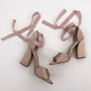 DOLCE VITA Harvyy Pink Satin Ribbon Wrap Heels